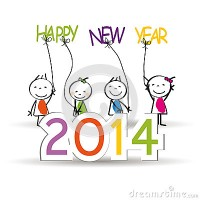 new year cute colorful card happy kids 32531362